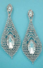 "Clear/Silver Big Marquise Stone Multiple Round Stone 3.5"" Post Earring"