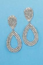 Clear/Silver Small Round Stone Bottom Pear Shape Earring
