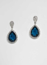 Blue Zircon/Clear Silver Two Linked Stone Post Earring