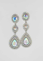 "Aurora Borealis/Silver Three Linked Stone 3"" Post Earring"