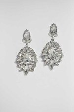 """Clear/Silver Marquise Stone 1.5"""" Post Earring"""
