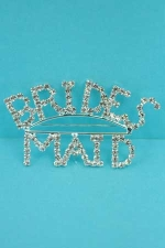 Clear Silver Rhinestone Brides Maid Pin