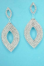 "Clear/Silver Two Marquise Shape Round Stone 2"" Post Earring"