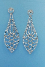 "Clear/Silver Multiple Round Stone 3"" Post Earring"