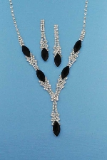 Jet/Clear Marquise/Round Stone Set