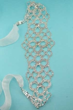 Clear/Silver Rhinestone Five Cross Webbed Design Bridal Sash