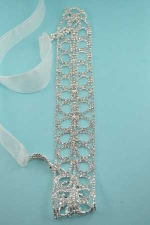 Clear/Silver Double Hollow Hoop Rhinestone Bridal Sash