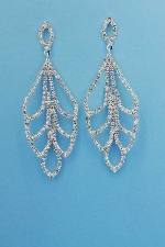 """Clear/Silver Leave Shape Round Stone 3"""" Post Earring"""