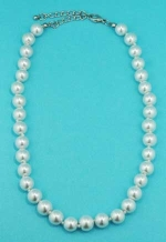 Pearl/Silver 10mm Multiple Pearl Stone Necklace