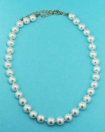 "Pearl/Gold16"" 10mm Multiple Pear Stone Necklace"