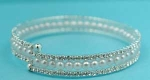 Pearl/Clear Silver Three Row Small Stone Bracelet