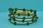 Emerald/Gold 5 Row Small Round/Ball Stone Bracelet