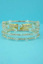 Clear/Gold 5 Rows Small Round Medium Ball Stone Bracelet
