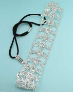 Clear/Silver Flower Pattern Round Stone Headband