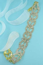 Clear Gold Y Shape Stone Rhinestone Ribbon Belt