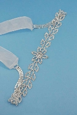 Clear/Silver Central Flower Round Stone Ribbon Belt