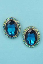 "Blue Zircon/Jet AB Gold Single Oval Stone 1/2"" Post Earring"
