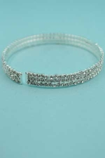 Clear/Silver 3 Line Small Square Stone Bracelet