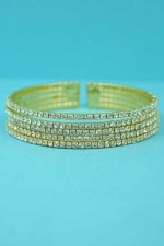 Clear/Gold 5 Lines Small Round Stone Bracelet