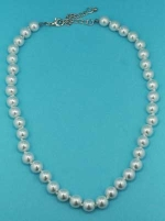 "Pearl/Silver 18"" 10mm Round Necklace"