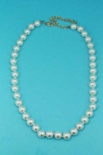 "Pearl/Gold Ivory 18"" 10mm Round Shape Necklace"