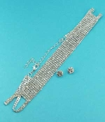 Clear Silver 9 Row Necklace Round Stone Set