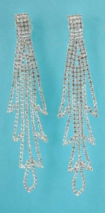 """Clear/Silver Clip Long Chains 4"""" Earring"""