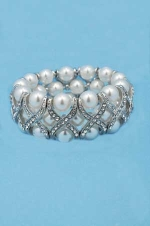 Pearl/Clear Stretch Medium Round Stones X Shape Bracelet