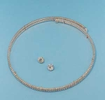 Clear/Rose Gold Two Row Small Round Stone Set