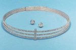 Clear/Rose Gold Three Row Small Round Stone Set