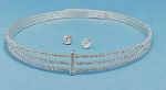 Clear/Silver Three Row Small Round Stone Set