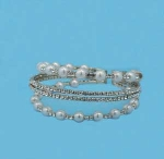 Pearl/Clear Gold Four Row Medium/Silver Round Stone Bracelet