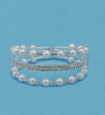 Pearl/Clear Multiple Small/Medium Round Stone Bracelet