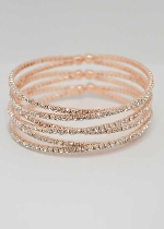 Clear/Rose Gold Six Rows Small Round Stone Bracelet