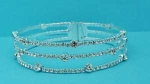 Clear/Silver Small/Medium Round Stone 3 Row Bracelet