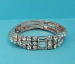 Clear/Rose Gold One Row Round Stone Stretch Bracelet