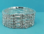 Clear/Silver One Row Round Stone Stretch Bracelet