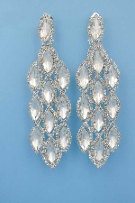 """Clear/Silver Multiple Marquise Shape 2"""" clip on Earring"""