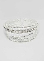 Clear/Silver Medium/Small 6 Rows Bracelet