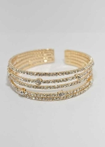 Clear/Gold Five Rows Small Round Stone Bracelet