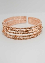 Light Peach/Rose Gold Five Rows Small Round Stone Bracelet