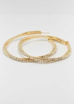 Clear/Gold 60mm Hoop Earring