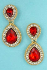 Siam/Clear Gold Double Framed Pear Stone Earring