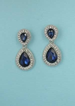 Montana Navy/ Silver Double Framed Pear Stone Earring