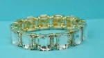 Clear Gold Emerald Shape One Row Stretch Bracelet