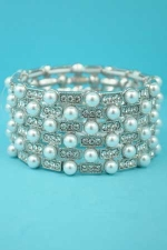 Clear Silver Stretch Pearl/Round Storne Bracelet