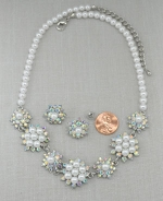 Pearl/AB/Silver Flower Cluster Necklace Set