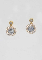 Cubic Zirconia/Gold Cubic Stone Post Earrings