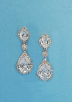 """Cubic Zirconia/Rose Gold Two Linked Mirror Shape 1.5"""" Post Earring"""