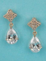 "Cubic Zirconia/Rose Gold Top Star Shape Dangling Pear Stone 1.5"" Post Earring"